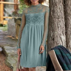 Sundance Dusty Blue Victorian Romance Lace Dress